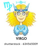 zodiac sign virgo.  fantastic... | Shutterstock .eps vector #634565009