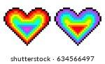 rainbow pixel heart set. vector ...