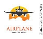 air plane logo  travel world... | Shutterstock .eps vector #634577489