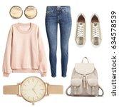 fashionable women's clothing... | Shutterstock . vector #634578539