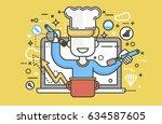 stock vector illustration chef... | Shutterstock .eps vector #634587605