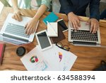 business team analyzing... | Shutterstock . vector #634588394