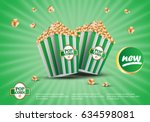 3d popcorn isolated on green... | Shutterstock .eps vector #634598081