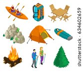 isometric camping elements set... | Shutterstock .eps vector #634602659