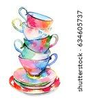 watercolor space teacups | Shutterstock . vector #634605737