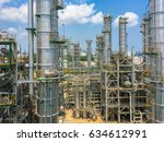 refinery tower in process area... | Shutterstock . vector #634612991
