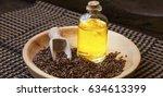 flax seed oil bottle  healthy... | Shutterstock . vector #634613399