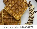 crispy fresh waffle  with... | Shutterstock . vector #634634771