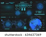 futuristic virtual graphic... | Shutterstock .eps vector #634637369