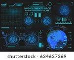 futuristic virtual graphic... | Shutterstock .eps vector #634637369