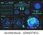 futuristic virtual graphic... | Shutterstock .eps vector #634637411