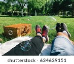 romantic couple relaxing on... | Shutterstock . vector #634639151