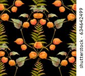 decorative flowers and fern.... | Shutterstock . vector #634642499