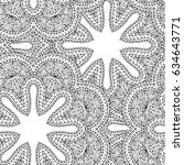 monochrome hand drawn lace... | Shutterstock .eps vector #634643771