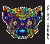 ornament face of lemur in line... | Shutterstock .eps vector #634647041