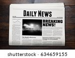 daily newspaper with wooden...   Shutterstock . vector #634659155