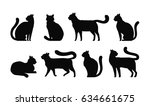 Cat Silhouette  Set Icons. Pet...