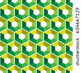 hexagon with color triangles.... | Shutterstock .eps vector #634667129