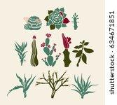 mammillaria  sempervivum ... | Shutterstock .eps vector #634671851
