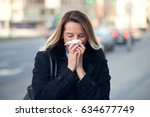 woman with a seasonal winter...   Shutterstock . vector #634677749