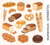 bread bakery products color... | Shutterstock .eps vector #634683731