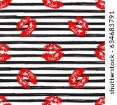 kiss  lips seamless pattern... | Shutterstock .eps vector #634683791