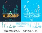 forest camp linear vector... | Shutterstock .eps vector #634687841