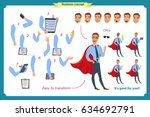 set of super businessman... | Shutterstock .eps vector #634692791