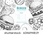 gourmet burgers and ingredients ... | Shutterstock .eps vector #634694819