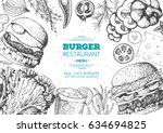 burgers and ingredients for... | Shutterstock .eps vector #634694825