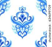 damask hand drawn floral design.... | Shutterstock . vector #634699709