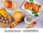 glasses of beer with chicken...   Shutterstock . vector #634699841