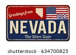 greetings from nevada vintage... | Shutterstock .eps vector #634700825