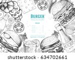 burgers and ingredients for... | Shutterstock .eps vector #634702661