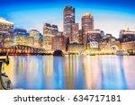 Stock photo the boston skyline at night located in fan pier park boston massachusetts usa 634717181