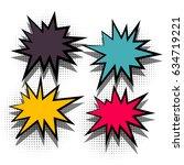 4 funny set comic book cartoon...   Shutterstock .eps vector #634719221