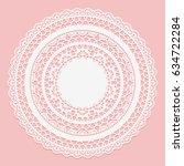white lace napkin on a pink... | Shutterstock .eps vector #634722284