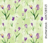 repeat pattern purple tulips  ... | Shutterstock .eps vector #634728515