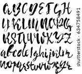 hand drawn dry brush font.... | Shutterstock .eps vector #634758491