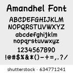 amandel vector font. alphabet.... | Shutterstock .eps vector #634771241