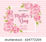 watercolor mother's day... | Shutterstock .eps vector #634772204