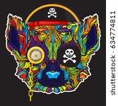 ornament face of lemur pirate... | Shutterstock .eps vector #634774811