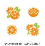 orange fruit. icon set. cut... | Shutterstock .eps vector #634792814