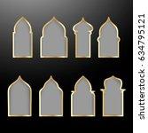 vector set with golden shapes... | Shutterstock .eps vector #634795121