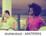 young people exercisinng a... | Shutterstock . vector #634795541