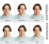 Small photo of A chart of six basic human microexpressions. A Caucasian male showing sadness, contempt, surprise, anger, disgust, fear