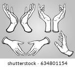 set of images of human hands in ... | Shutterstock .eps vector #634801154
