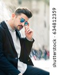 cool and handsome fashion young ... | Shutterstock . vector #634812359