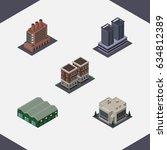 isometric urban set of industry ... | Shutterstock .eps vector #634812389