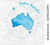 australia watercolor map in... | Shutterstock .eps vector #634813394